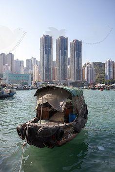 Sampan in Aberdeen harbor . Hong Kong