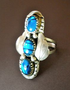 Sterling Silver Ring Blue Art Glass Vintage by RenaissanceFair, $58.00