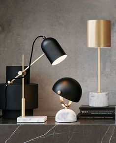 The Beacon Lighting Cheswick 1 light table lamp in black/marble.