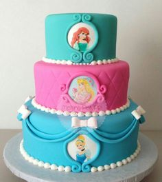 Princess cake- would need a crown on the top. Disney Princess Birthday Party, Birthday Cake Girls, 4th Birthday, Birthday Ideas, Princess Theme, Birthday Cakes, Cupcakes, Cupcake Cakes, Bolo Rapunzel