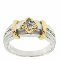0.25 Cttw Round Diamond Flower Cocktail Ring 14K Two-Tone Gold by GetDiamondsDirect on Etsy