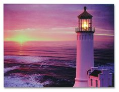Lighthouse Canvas Print - LED Wall Art - Radiance Lighted Canvas - Lighthouse by Sea Sunset Scene - 12x16 Inch