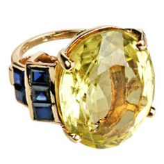 Douglas Rosin Large Faceted Citrine & Gold Cocktail Ring