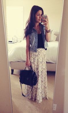 Cute outfit for Spring love it. The skirt would be too long on me.
