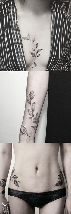 Black and White Large Flower Leaf Sternum Tattoo - Vine Arm Sleeve Hip Tat - MyBodiArt.com