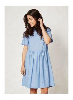 KARA dámské letní šaty ze 100% biobavlny - světle modrá denim - fair trade oblečení z biobavlny, bambusu, konopí, modalu, tencelu a merino, přírodní kosmetika, bambucké máslo, fairtrade bytové doplňky