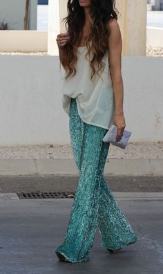 Green and White mint sequins diaphanous sheer clutch long waves camisole sparkles night