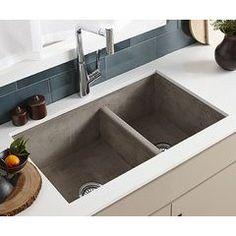 """33"""" x 21"""" Farmhouse Reversible Kitchen Sink - Ash Concrete Sink, Concrete Kitchen, Ikea Kitchen Countertops, Cement, Apron Front Kitchen Sink, Double Bowl Kitchen Sink, Modern Kitchen Sinks, Big Kitchen, Farmhouse Aprons"""