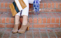Match-all Nude peep toe booties that work for fall and spring!   Banana Republic shoes