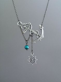 Lost at Sea Necklace, Silver Plated Anchor, Teal FW Pearl, Anchor with Ship Wheel, Sideways Anchor, Teal Pearl Necklace, Anchor with Pearl