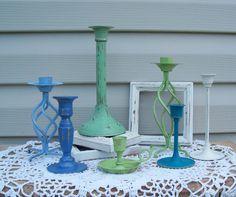 Green /Blue Brass Candlestick Collection