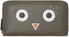 Fendi Grey Flower Eyes 2Jours Zip Wallet