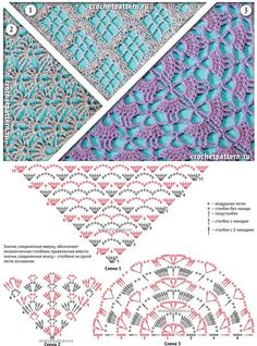 "#Crochet_Stitches - ""Three easy and lovely crochet stitches for shawls from Russian site."" via #KnittingGuru ** http://www.pinterest.com/KnittingGuru"