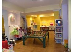 A Playroom with everything - train set, dress-up clothes, games, snack area, arts & crafts...