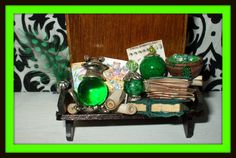 Gothic Witch Wizard Magic dollhouse miniature Book  Spell shelf frog