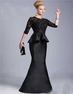 Vintage 2015 Black Mother Of The Bride Sheer Half Long Sleeves Lace Beaded Peplum Sheath Formal Dresses Evening Gowns Vestido Formales 510 Purple Mother Of The Bride Dresses Wedding Outfits For Mothers From Beautydesign, $108.1| Dhgate.Com