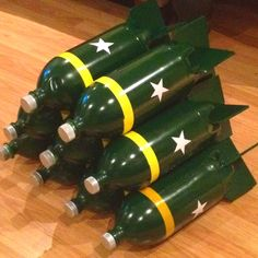 Army missiles made out of 2 liter bottles Army party military party ideas decorations and food Camouflage Party, Camo Party, Nerf Party, Party Games, Army Birthday Parties, Army's Birthday, Birthday Party Themes, Birthday Games, Birthday Ideas