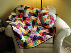 Chevron Half Square Triangle Values Quilt and Pillow by Sarah.WV, via Flickr
