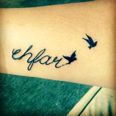 Remembrance tattoo ehfar (everything happens for a reason) with two birds in remembrance of two special people in my life my grandmother and little cousin.