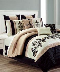 Hallmart Collectibles Broussard Queen Comforter Set - Bed in a Bag - Bed & Bath - Macy's Bedroom Comforter Sets, Gold Bed, Comforter Sets, Comforters, Black Gold Bedroom, Bed In A Bag, Gold Comforter, Home Decor, Rose Gold Bed