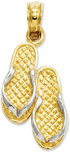 14k Gold and Sterling Silver Charm, Flip Flops Charm