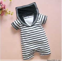 Baby Rompers New Boys Navy Style Striped Short Sleeve Summer Sailor Collar Romper  Sleepsuits Baby Clothing Infant Rompers