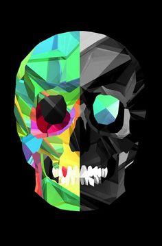 Skull 1/2 color, 1/2 b&w