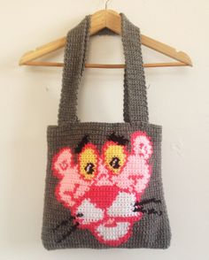 Crochet Pink Panther Tote