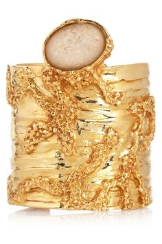 Yves Saint Laurent|Large Arty gold-plated glass cuff|NET-A-PORTER.COM