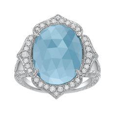 #PennyPreville #Aquamarine 18K White #Gold, Aquamarine & #Diamond #Ring
