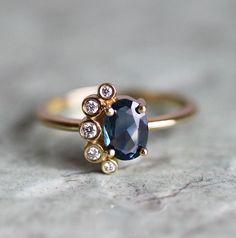 Bague saphir, Rose coupe bague saphir, bague en saphir bleu, bague en saphir bleu, bleu bague de fiançailles, bague saphir diamant