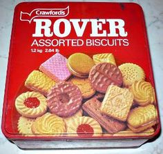 Crawford's Rover Biscuits - 1980s. Literally every workplace had at least one of these hanging around. Someone would bring in the biscuits for a special occasion, then the tin would be used for bits and bobs or collecting gift money or raffle tickets.