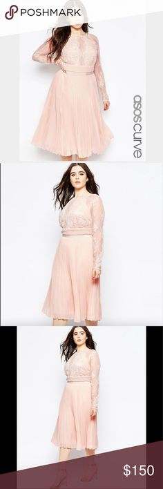 ASOS Curve Lace/Pleated Dress ASOS Curve Lace/Pleated Dress.  NWT.  Beautiful, classic and stunning dress to wear for a wedding as a bride, mother of the bride, guest or a special occasion. The color is a nude.  Long sleeve Lace with pleated skirt.  Very flattering. ASOS Curve Dresses Midi