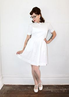 Vintage nurse dress .  white nurse uniform . by VoyeurVintage, $39.00