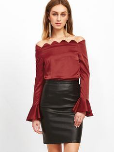 ¡Cómpralo ya!. Burgundy Scallop Off The Shoulder Bell Cuff Silky Top. Burgundy Elegant Off the Shoulder Long Sleeve Polyester Plain Slim Ruffle Fabric has some stretch Fall Blouses. , tophombrosdescubiertos, sinhombros, offshoulders, offtheshoulder, coldshoulder, off-the-shouldertop, schulterfreiestop, tophombrosdescubiertos, topdosnu, topspallescoperte, hombrosdescubiertos. Top hombros descubiertos  de mujer color granate de SheIn.