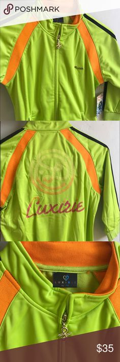 Luxirie Track Neon Jacket (M) Spring and summer is upon on us. There is nothing like this super cute half sleeved neon Luxirie track jacket that would great with just about any pair of jeans,shorts or, skirt. Check out the charms and embroidery on the back. Jacket cost me almost $80. Luxirie Jackets & Coats