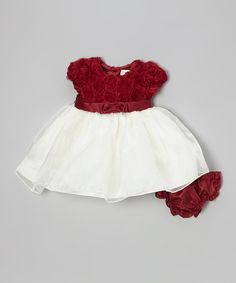 Take a look at this Red & White Rosette A-Line Dress & Diaper Cover - Infant & Toddler on zulily today!
