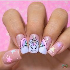 don't you love this unicorn nail art too 🦄😍 Unicorn Nail Art, Unicorn Headband, Unicorn Dress, Semi Permanente, Blue Acrylic Nails, Nails For Kids, Beautiful Unicorn, Pretty Nail Art, Unicorn Gifts