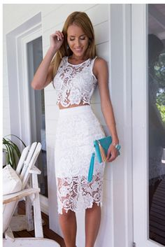 Sexy Womens Two-piece Sleeveless Lace Crop Tops And Skirt Set Bodycon Mini Dress on Luulla