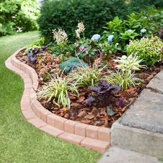 3 Steps to an Easy Vegetable Trellis curvy brick border plants flowers bed garden landscaping Front Garden Landscape, Landscape Borders, Brick Landscape Edging, Landscape Bricks, Landscape Curbing, House Landscape, Garden Yard Ideas, Lawn And Garden, Garden Edging Ideas Cheap