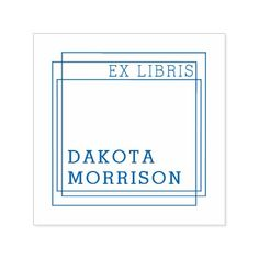 Create Your Own Modern Geometric Ex Libris Name Self-inking Stamp - personalize gift idea special custom diy or cyo