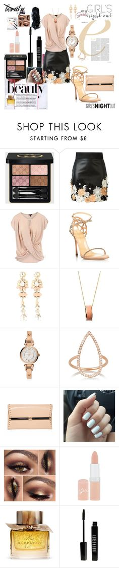 """""""Girls night out beauty edition"""" by agnesmakoni ❤ liked on Polyvore featuring beauty, Gucci, Emanuel Ungaro, Sergio Rossi, Halo & Co., Dutch Basics, FOSSIL, Diane Kordas, DVF and Creatures Of The Wind"""