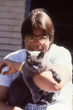 Stephen King with the cat that played Church in the 1983 film adaption of his novel, 'Pet Sematary'.