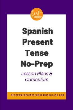 Once students know the meanings of verbs, they can begin to communicate in any tense. This No-Prep Spanish Present Tense Lesson Plans and Curriculum includes four PowerPoints, 10 ninety-minute lesson plans, homework, bell work, games, vocabulary lists, quizzes, tests, paired activities and stories. The concepts covered are irregular verbs, stem-changing verbs, and cambios ortográficos. Can be used with Spanish Two, Three, or Four. Teach, correct, go home. #eltiempopresente… Spanish Grammar, Ap Spanish, Spanish Lesson Plans, Spanish Lessons, Bell Work, Irregular Verbs, Curriculum Planning, Vocabulary List, French Teacher