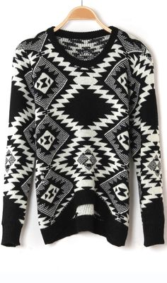 Sweet argyle print arc hem pullover sweater black VERY NICE