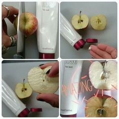 This is the best face wash to clean the skin ! It has vitamin c🍊 Look how this apple that was cut in half and gone brown has come up brilliant white with the wash! Imagine how it is on your skin 😍 Beauty Box, Beauty Care, Beauty Skin, Nu Skin, Daily Makeup Routine, Skincare Routine, Galvanic Spa, Even Skin Tone, Skin Firming