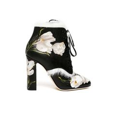 DOLCE & GABBANA 'Tulips' printed leather ankle boots (48.690 RUB) ❤ liked on Polyvore featuring shoes, boots, ankle booties, multicolor, bootie boots, leather bootie, short leather boots, genuine leather boots and multi color boots
