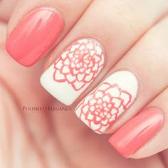 Essie - Carousel Coral floral manicure hand painted doodle flowers nail art manicure