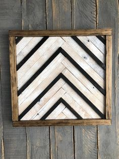 Wood Wall Art with Chevron - Black White background - Reclaimed Wood Wall Decor --
