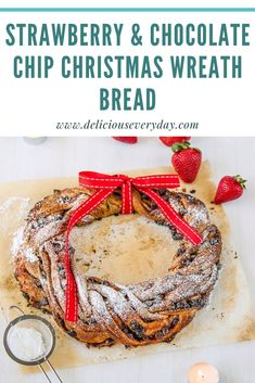 This Strawberry and Chocolate Chip Christmas Wreath is pretty enough to be an edible table centerpiece at your next holiday celebration. And the best part – at the end of the meal, you can eat it for dessert! Vegetarian Christmas Recipes, Easy Holiday Recipes, Bhg Recipes, Dinner Recipes, Vegan Recipes, Edible Christmas Gifts, Christmas Wreaths, Holiday Baking, Christmas Baking